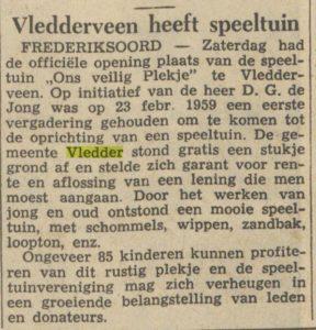 "Krantenartikel over officiële opening speeltuin ""Ons Veilig Plekje"", 20 mei 1960 (bron: onbekend)"