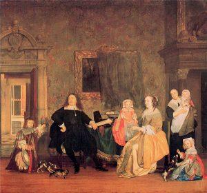 Portret van de familie van Jan Jacobsz. Hinlopen en Leonora Huydecoper (Door: Gabriel Metsu 1662-1663, Bron: Stichting RKD))