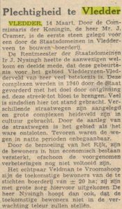 Krantenartikel over eerste steenlegging van de boerderij