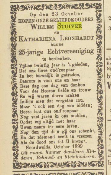 Advertentie 25-jarig huwelijk Willem Stuiver en Catharina Leonhardt 23-10-1899