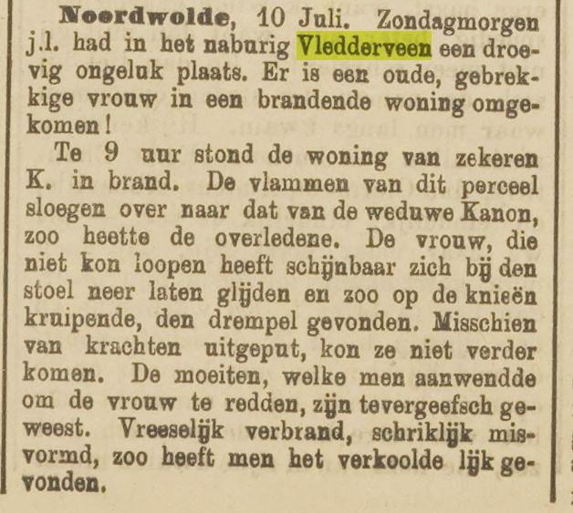 Brand bij weduwe Kanon op 8-7-1898, artikel dd 16-7-1894
