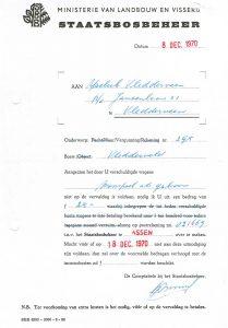 Betalingsherinnering Staatsbosbeheer 1970