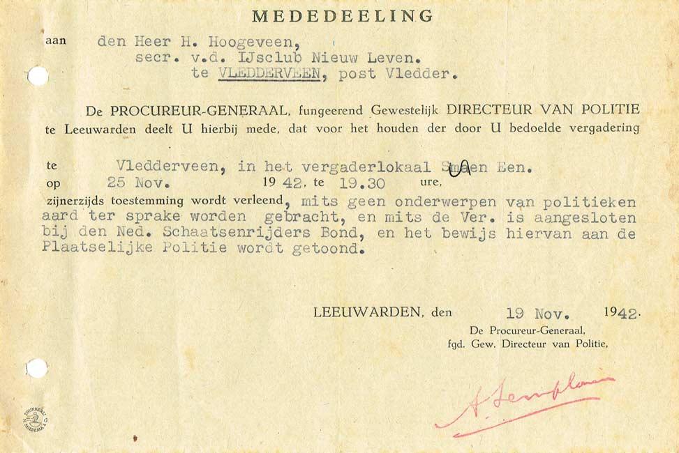 Toestemming Procureur-generaal, 1942