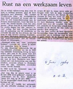 4 juni 1964. Meester Hoekstra gaat met pensioen