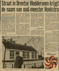 1970 Er wordt een straat naar Mr Hoekstra vernoemd