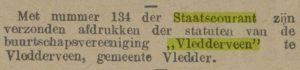 Oprichting Buurtschapsvereniging Vledderveen,11 juni 1914