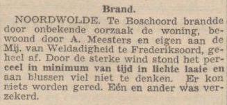 Krantenartikel nav afbranden hoeve van Anne Meester en Niesje Boertje in Boschoord, op 15 januari 1948