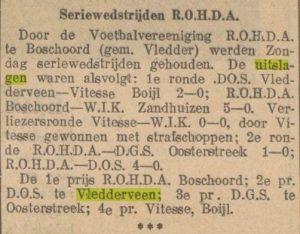 artikel Seriewedstrijden R.O.H.D.A
