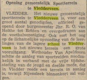 artikel Opening gemeentelijk Sportterrein te Vledderveen