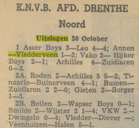 K.N.V.B. AFD. DRENTHE Noord, uitslagen 30 october